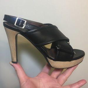 Marni leather wood high heel platform sandal
